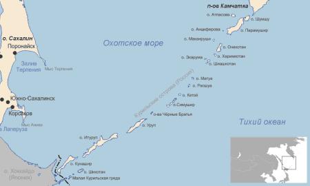 Курильские острова на карте
