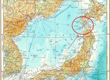 Сангарский пролив на карте