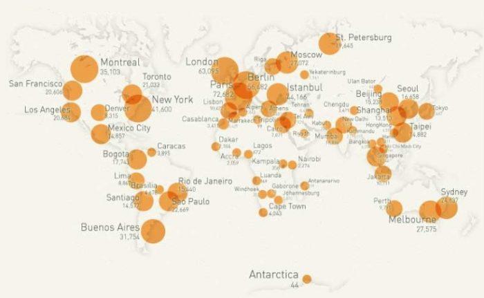 Карта мира по Couchsurfing