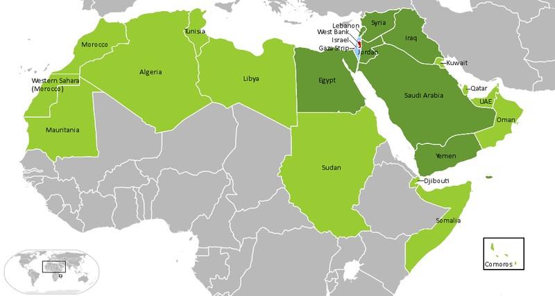 Страны, конфликтующие с Израилем (отмечены темно-зеленым)