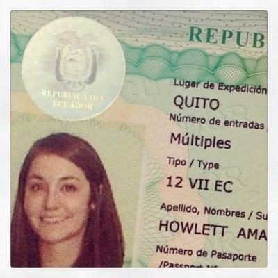 Образец долгосрочной визы в Эквадор