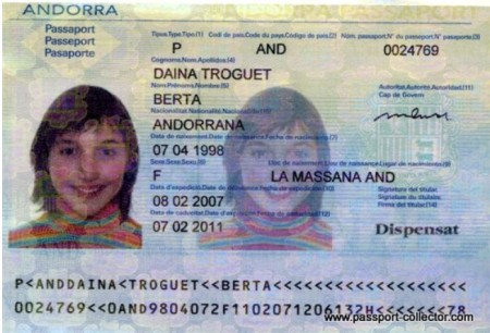 Паспорт гражданина Андорры