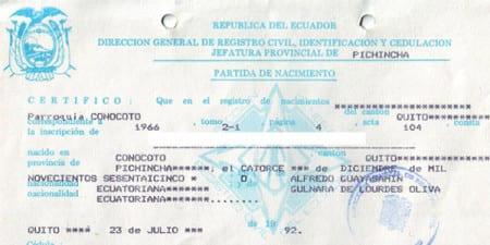 Свидетельство о рождении в Эквадоре