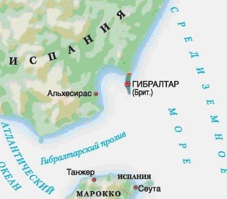 Гибралтар на карте