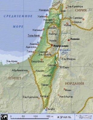 Египет и Израиль на карте