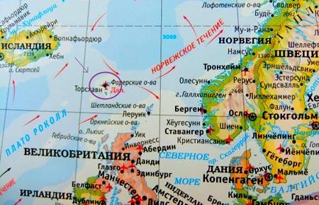 карта расположения фарер