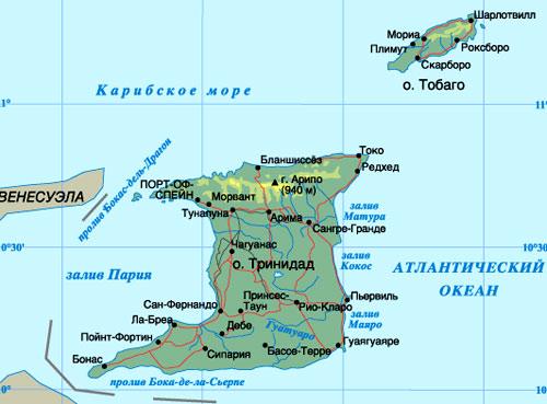 карта Тринидад и Тобаго