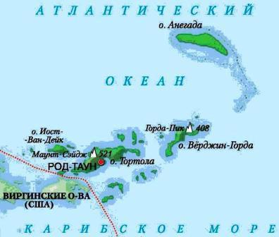 карта американских виргинских островов