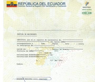 Свидетельство о браке в Эквадоре