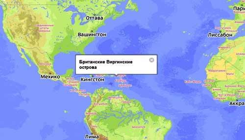 карта расположеняи виргинских островов