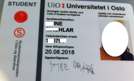 студенческое удостоверение в Норвегии