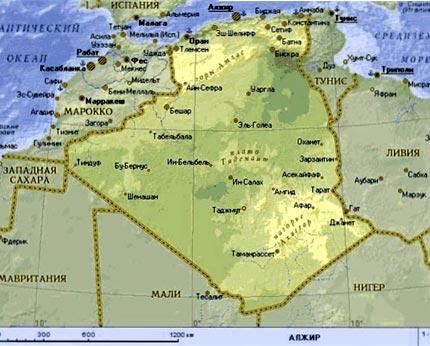 карта Алжира