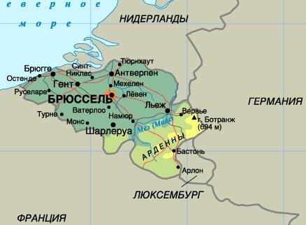 карта Бельгии