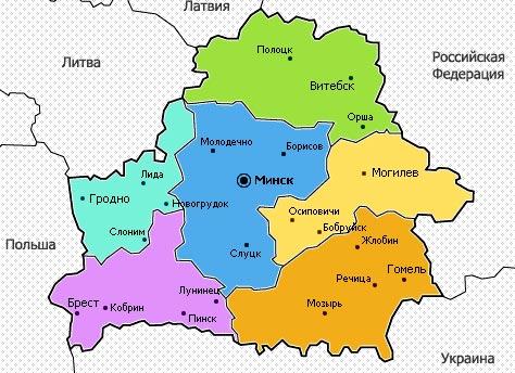 карта Белоруссии