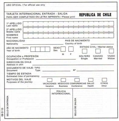 Анкета для продления визы в Чили