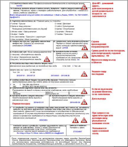 Образец заполнения заявления о выдаче шенгенской визы. Стр. 2