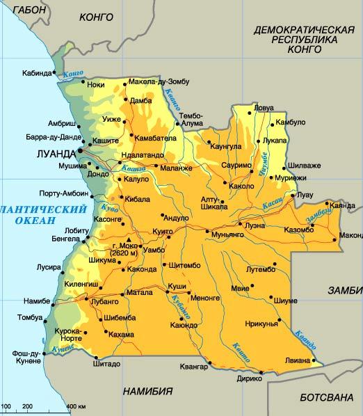 карта Анголы