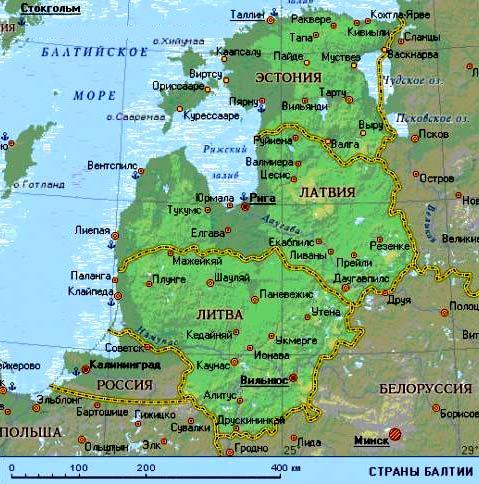 карта балтийских стран