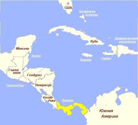 Панама на карте