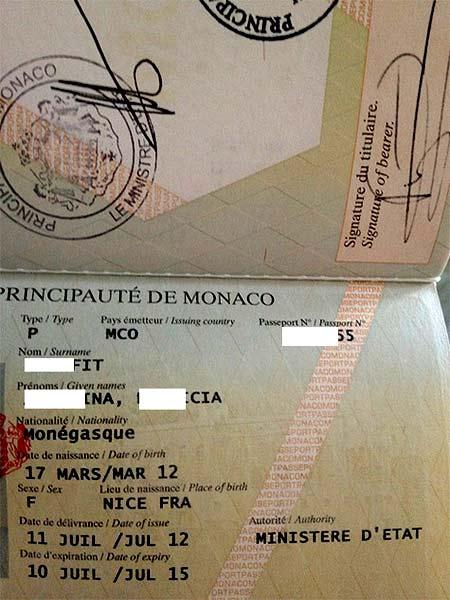 паспорт Монако