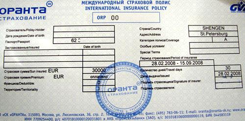 международная страховка