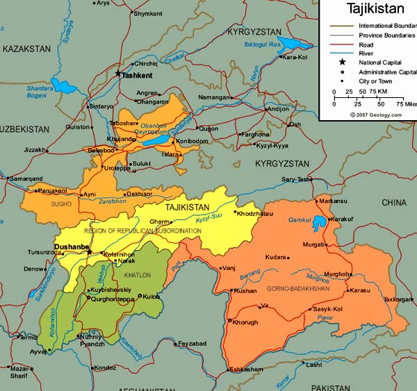 карта Таджикистана