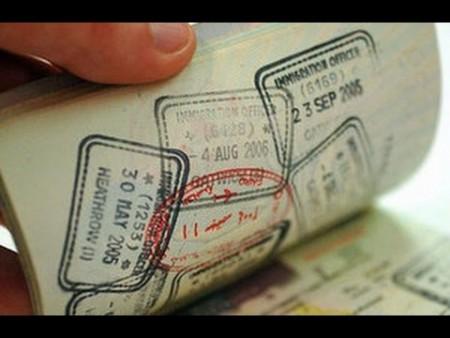 Отметка визы в паспорте