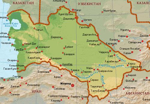 карта Туркменистана