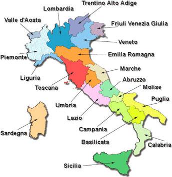карта Италии с делением на регионы