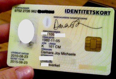 идентификационная карточка Швеция