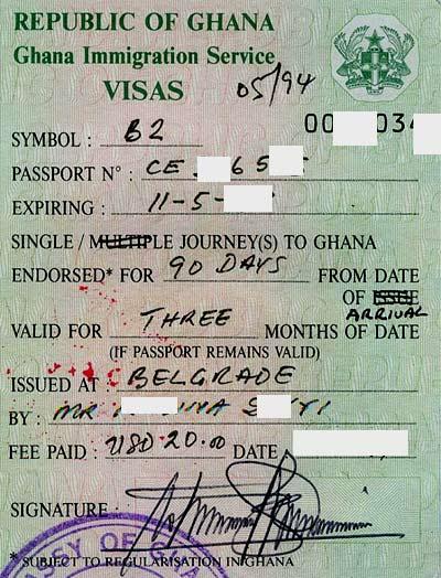 Гана туристическая виза