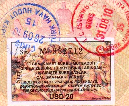 Турция виза по прибытию