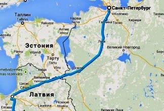 на машине в Латвию