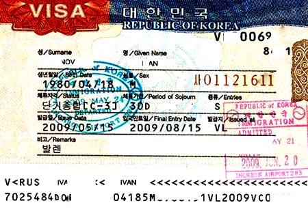 южная корея виза d-8