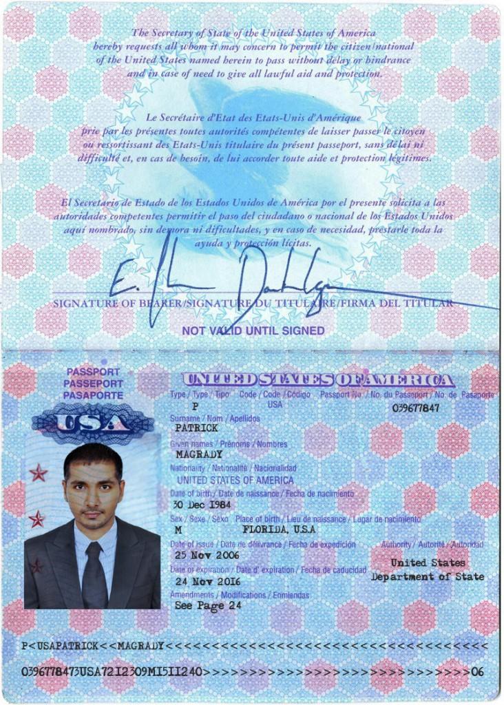 Скан паспорта американца