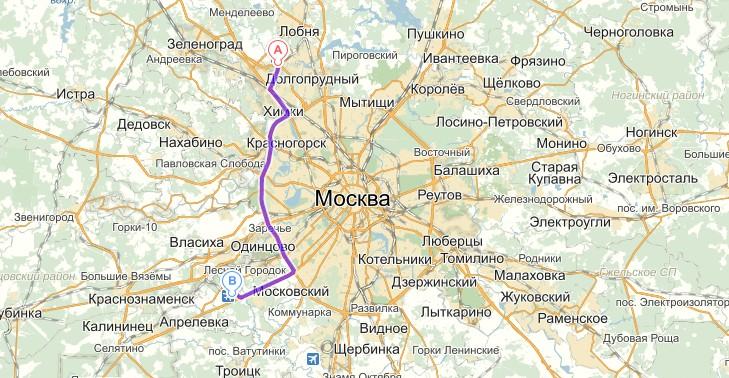 Схема проезда Внуково (Б)-Шереметьево (А)