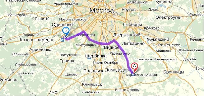 Схема проезда Внуково-Домодедово