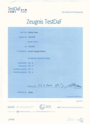 сертификат TESTDAF