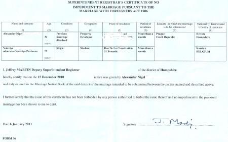 Certificate of No Impediment