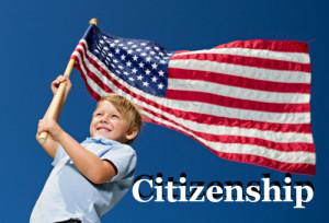 Ребёнок с флагом США