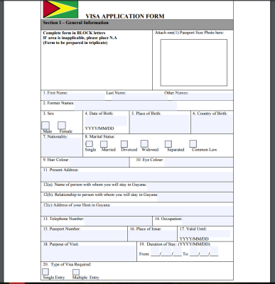 Анкета на визу в Гайану