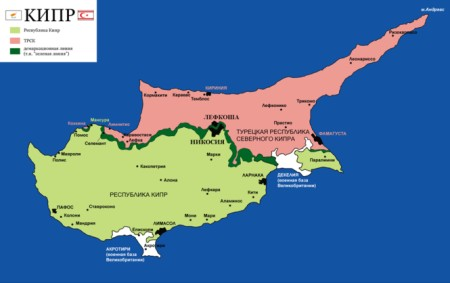 Карта Кипра после раздела