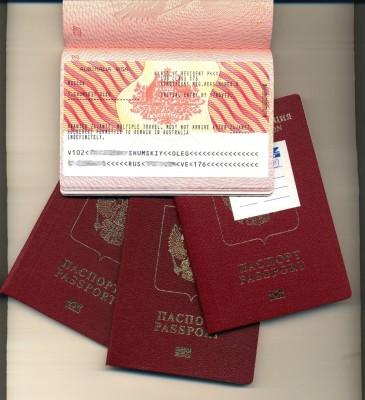 Австралийская виза в загранпаспорте РФ