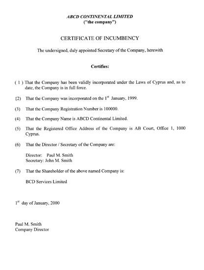 Сертификат, подтверждающий юридический адрес, Кипр