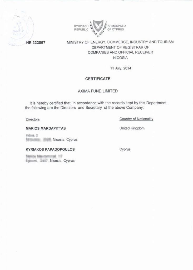 Сертификат о составе директоров, Кипр