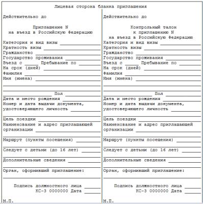 Ходатайство о выдаче приглашения на въезд в Российскую Федерацию