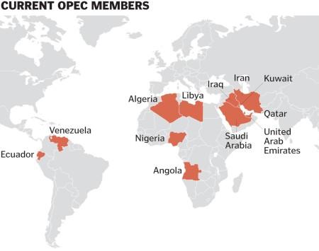 Страны, входящие в состав ОПЕК