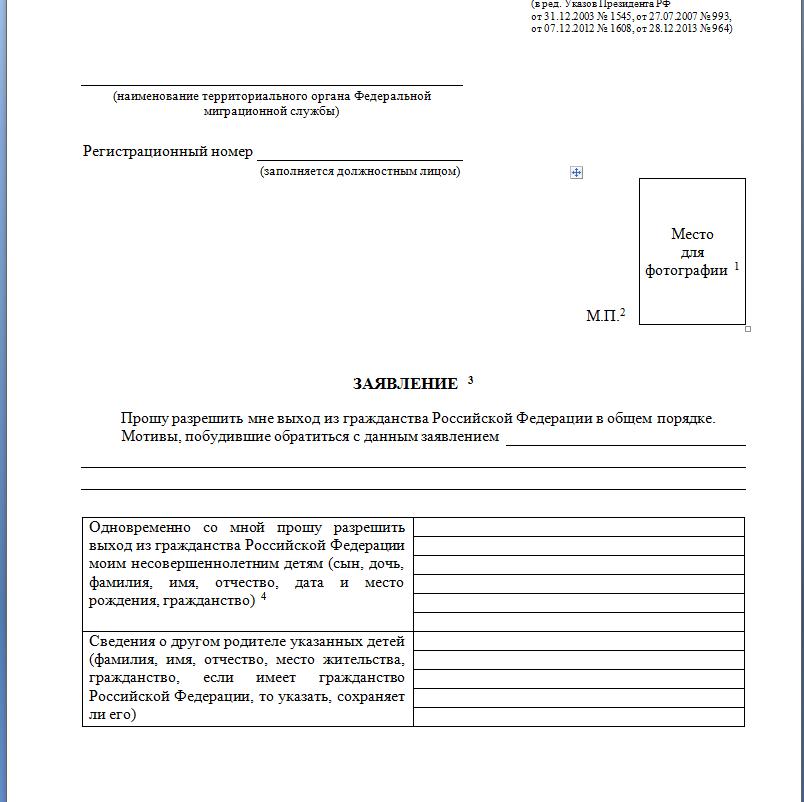 Заявление об отказе гражданства РФ