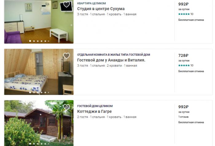 Стоимость аренды жилья в Абхазии
