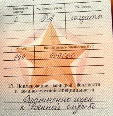 Отметка в военном билете о статусе призывника